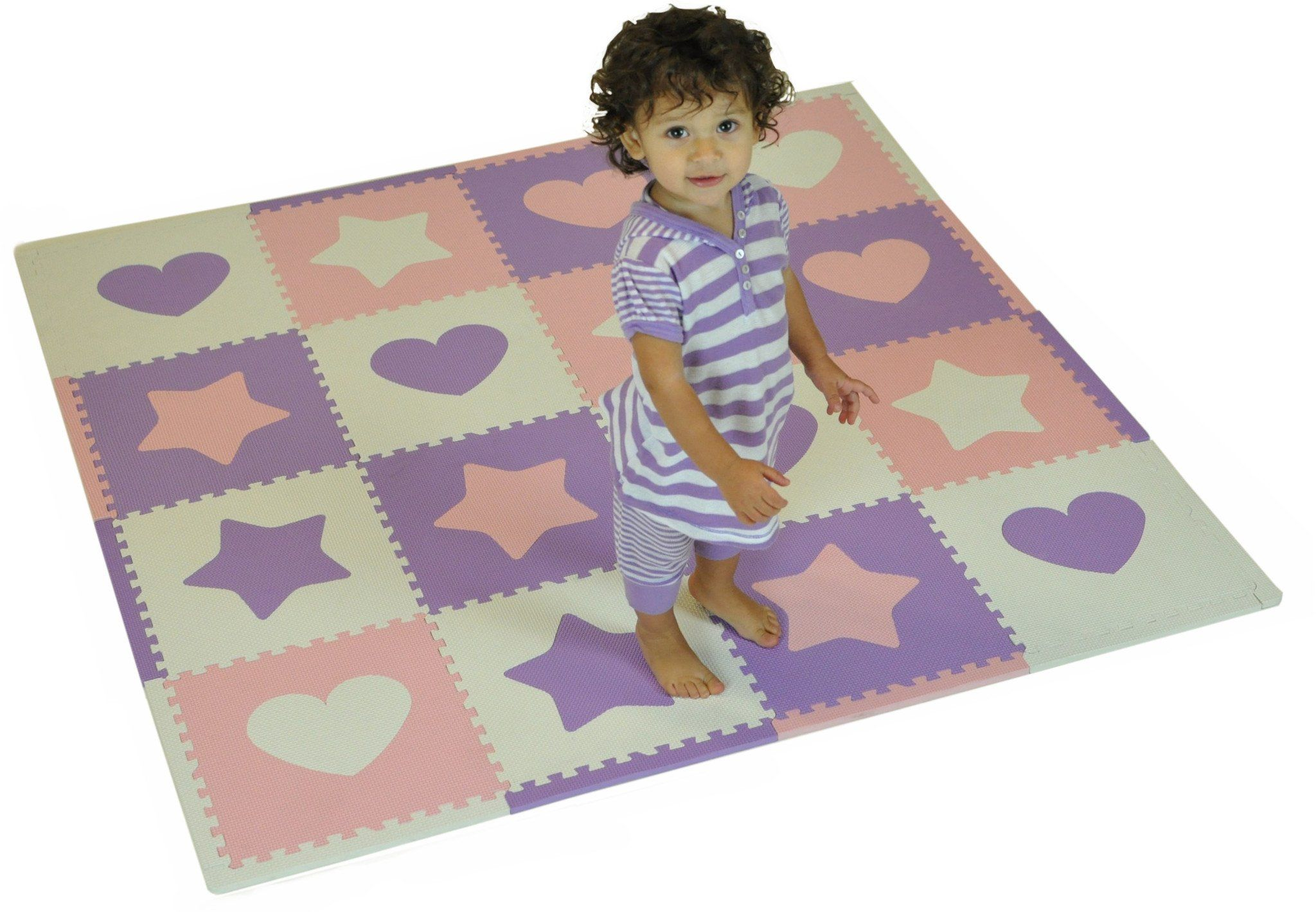16 Piece Foam Playmat Set, Hearts & Stars Playmats Tadpoles Bedding