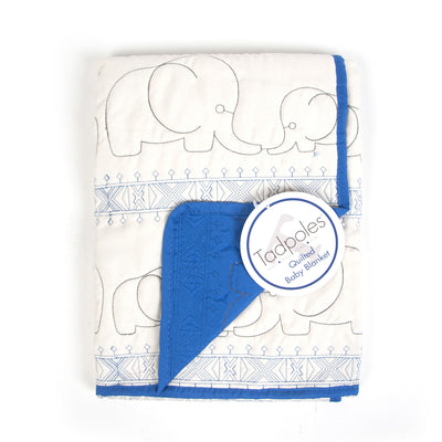 Baby Quilted Blanket Elephant - Blue