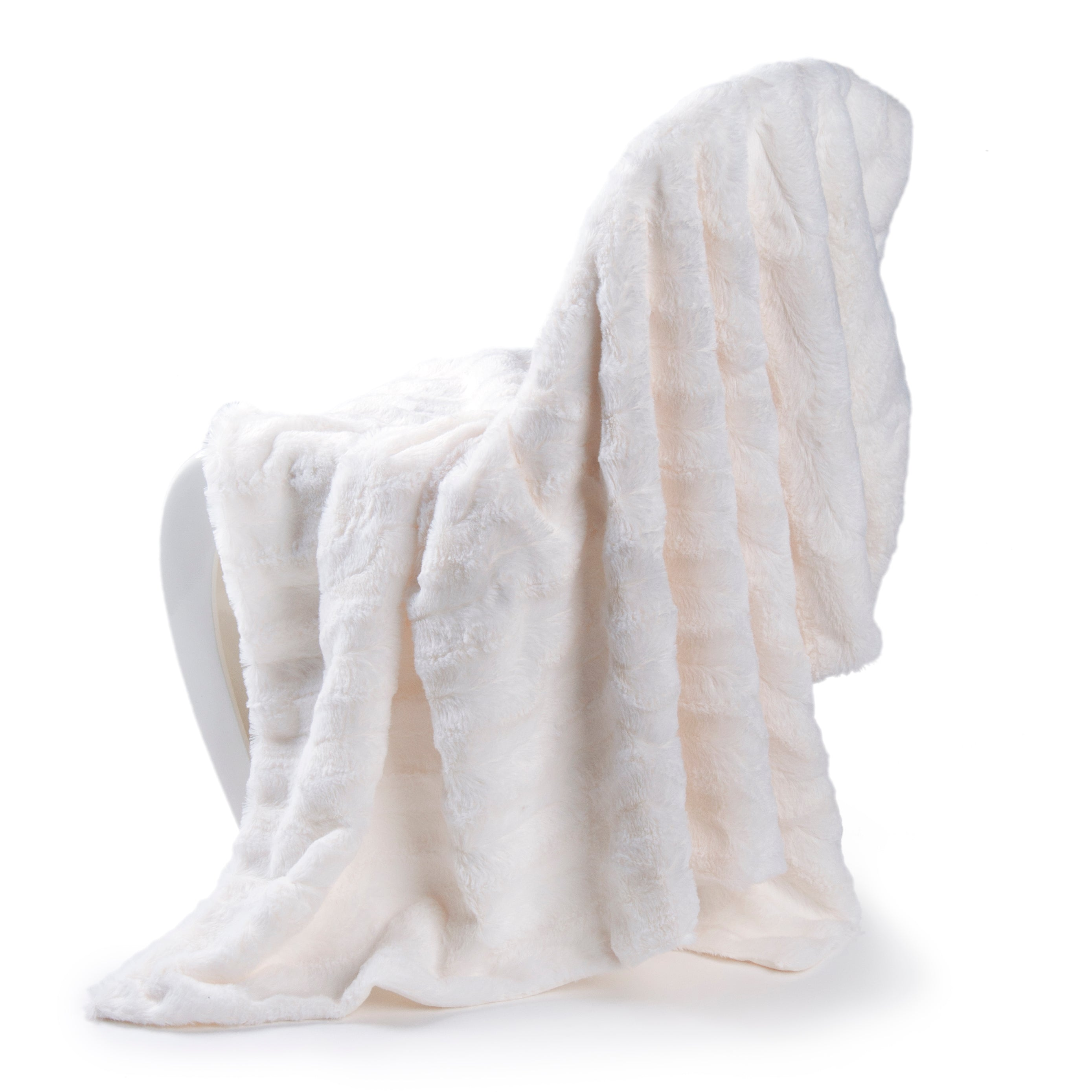 Faux Fur Plush Baby Blanket, Cream
