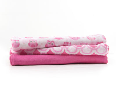 100% Cotton Muslin Receiving Blanket - Set of 3