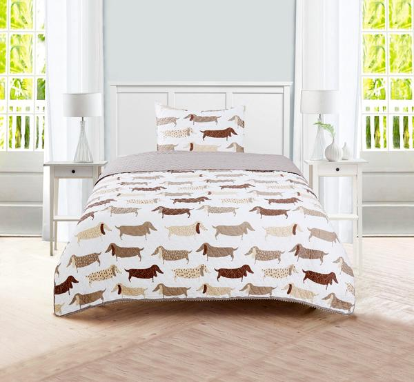 Sleeping Partners Dachshund Dog Pompom Trimmed Quilt and Pillow Shams
