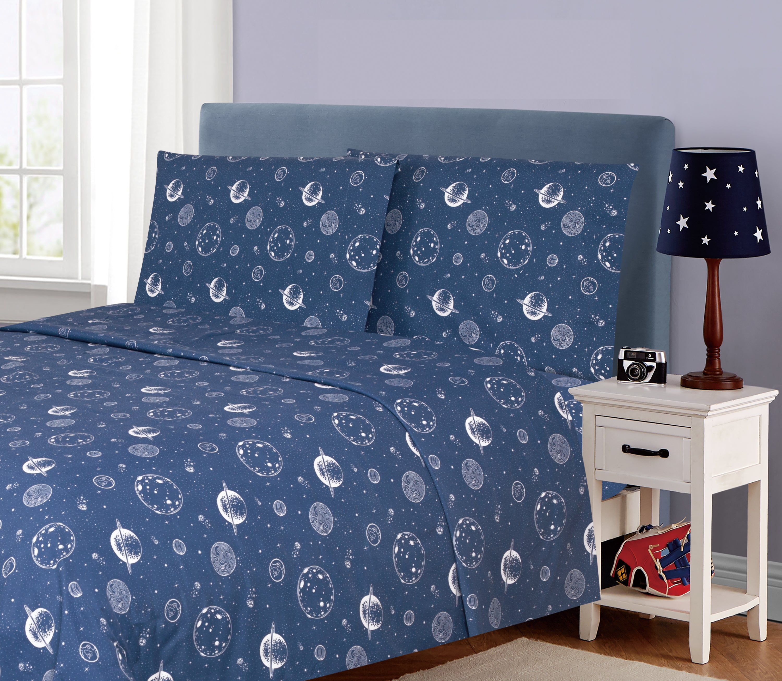 Kids Rule Sheet Set Printed Shark Sketch, Blue