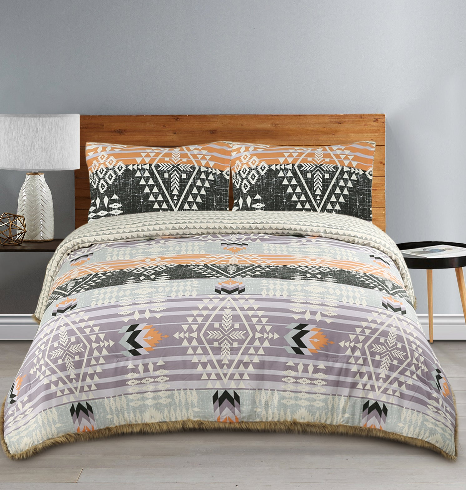 Muk Luks Bohemian Style Comforter Set With Fur Trim & Matching Shams, Peach and Purple