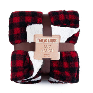 Muk Luks Super Soft Buffalo Plaid Double Layer Sherpa Throw Blanket, Red