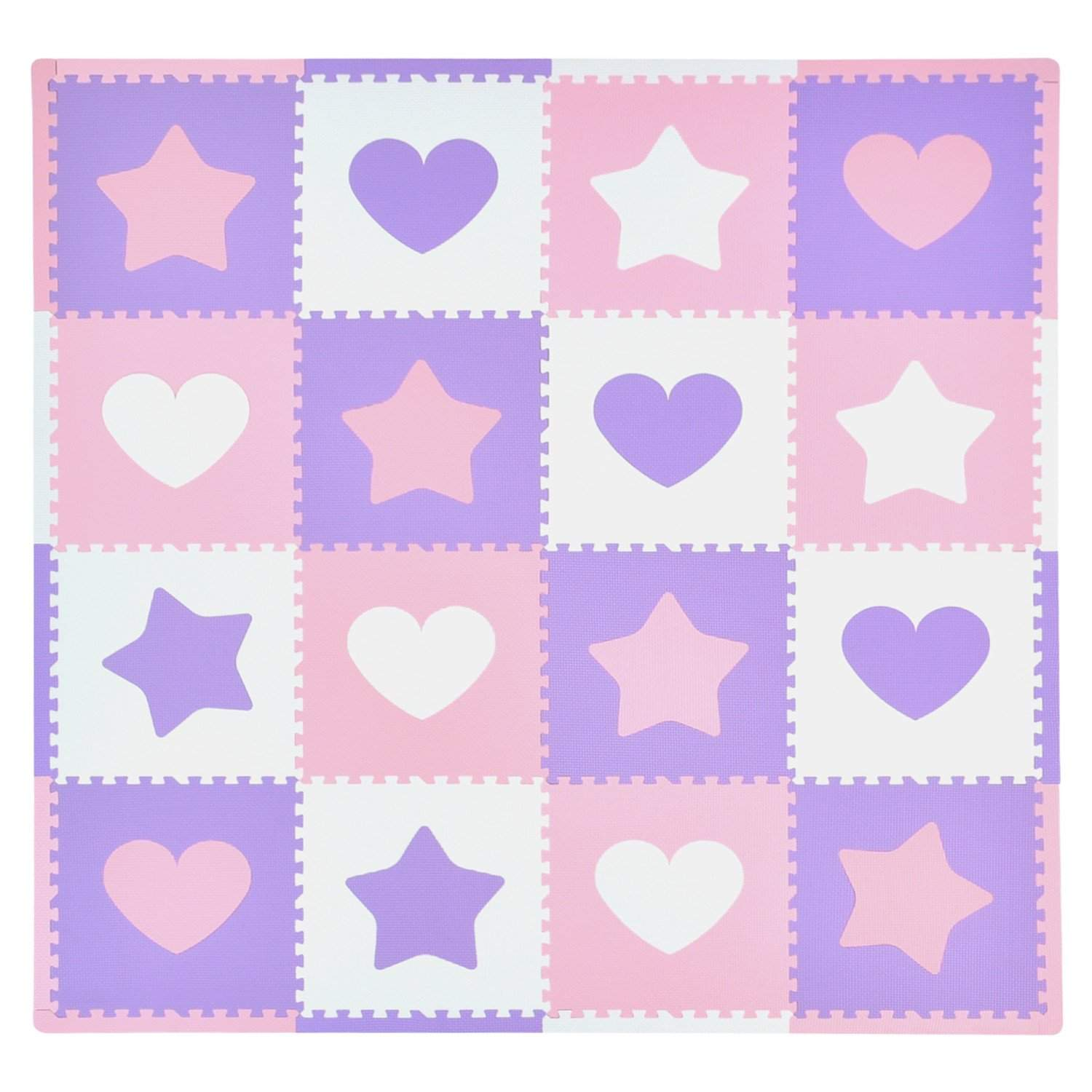16 Piece Foam Playmat Set, Hearts & Stars Playmats Tadpoles Bedding Pink/Purple/White