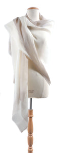 Border Dip Wool Silk Blend Shawl, Soft Grey
