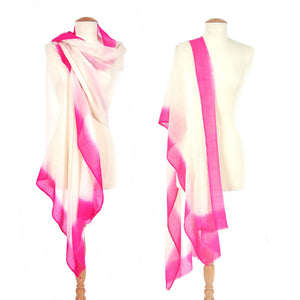 Border Dip Wool Silk Blend Shawl, Pink