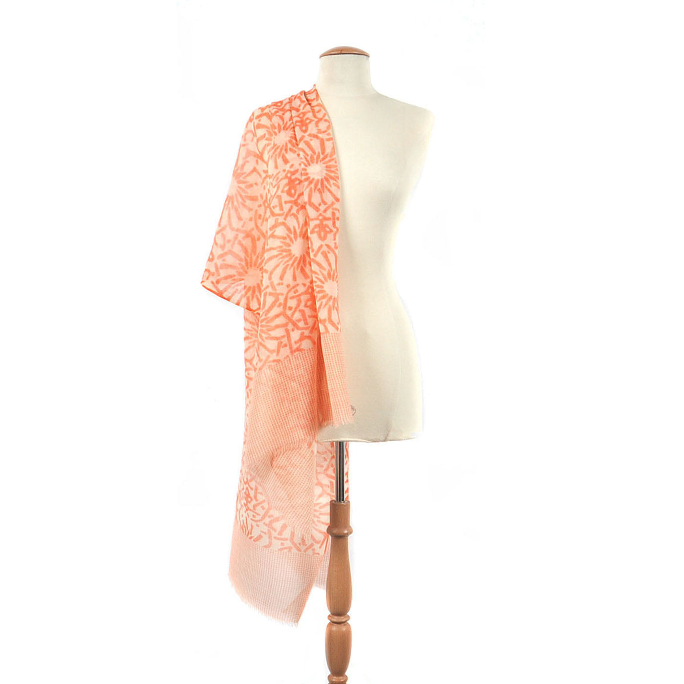 Sola Print Wool Silk Blend Shawl, Orange