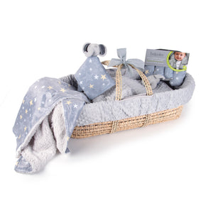 Moses Basket Baby Shower Gift Set in Grey