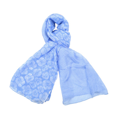 Gloria Print Oversized Silk Scarf, Light Blue
