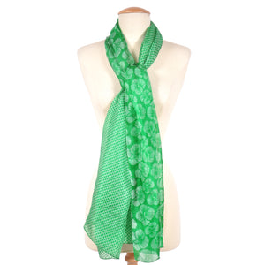 Gloria Print Oversized Silk Scarf, Green