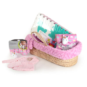 Deluxe Unicorn Moses Basket Gift Set in Pink