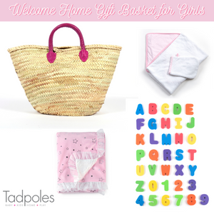Limited Edition Welcome Home 5 Piece Gift Basket for Baby Girls, Pink