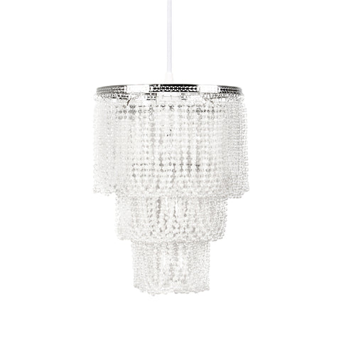 Pearlized Beaded Triple Layer Pendant Light Shade