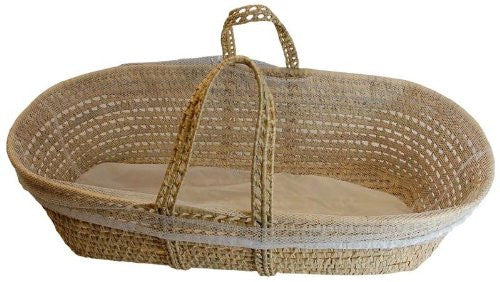 How To Weave A Moses Basket : Palm leaf woven moses basket with laundry liner