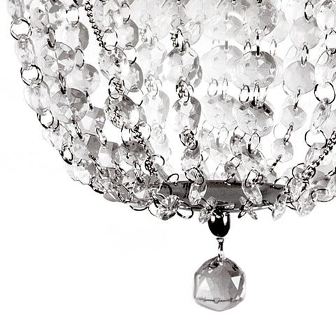 Pendant Chandelier Faux-Crystal & Chrome Pendant