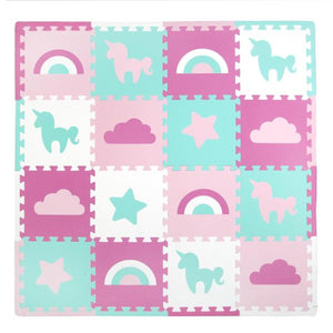 16 Piece Foam Playmat Set, Unicorns & Rainbows