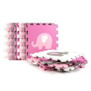 16 Piece Foam Playmat Set, Elephants & Hearts