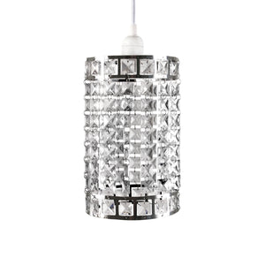 Faux-Crystal & Chrome Cylinder Shape Pendant