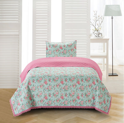 Sleeping Partners Chloe & Olivia Crochet Trimmed Floral Quilt Set