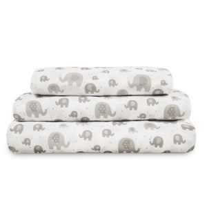 3 Piece Twin Sheet Set, Grey Elephant