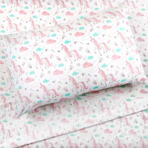 3 Piece Toddler Sheet Set, Pink Unicorn