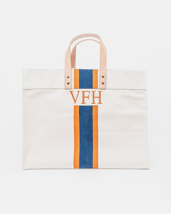 Canvas and Leather Tote - Navy & Orange Stripe