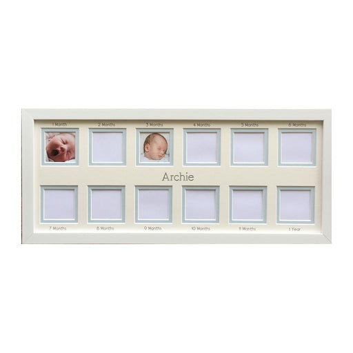 Baby 1st Year 12 Apertures Photo Frame 20 x 8 Blue