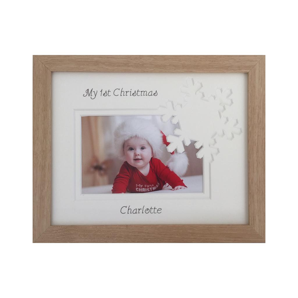 Christmas Snowflake Frame - Personalised, Beech