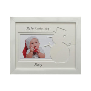 1st Christmas Snowman Picture Frame