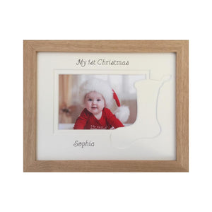 Christmas Photo Frame, Beech - Stocking