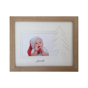 Xmas Tree Photo Beech Frame - Name only