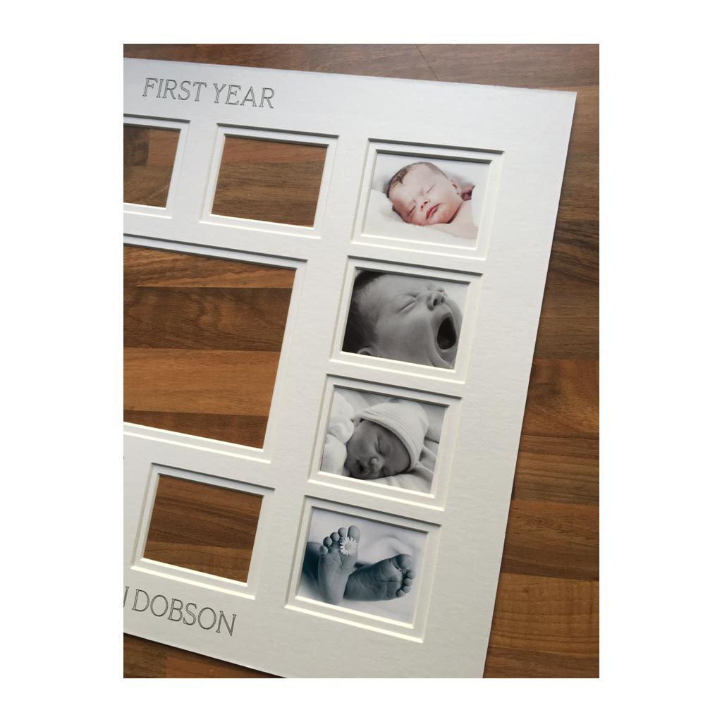 Personalised Baby First Year Picture Mount 20 x 16
