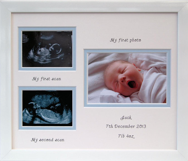 Boy First and Second Scan Double Photo Frame Landscape
