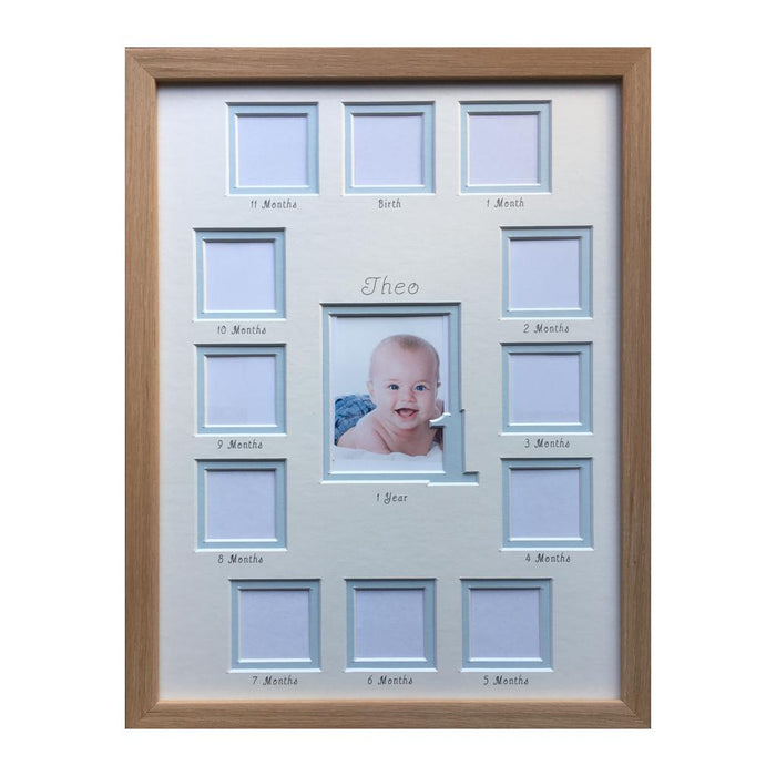 1st year collage portrait blue in beech frame