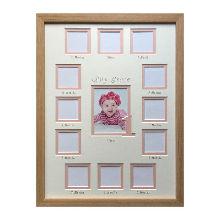 1st year collage Portrait pink in beech frame