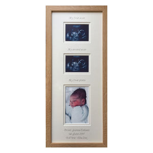 2 Scans and Baby 1st Photo Picture Frame 20 x 8 Beech