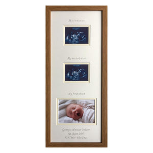 2 Scans and Baby 1st Photo Frame 20 x 8 Oak - Landscape