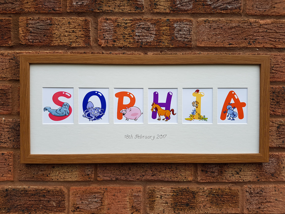 Animals Alphabet Personalised Children Name Photo Frame 20 x 8