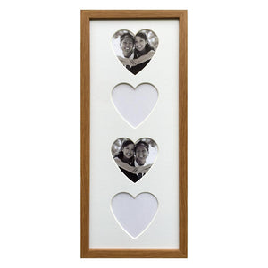 4 Hearts Picture Vertical Frame- Oak