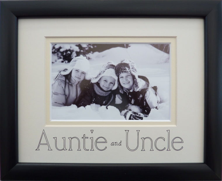 Auntie and Uncle photo frame - landscape, black 9 x 7