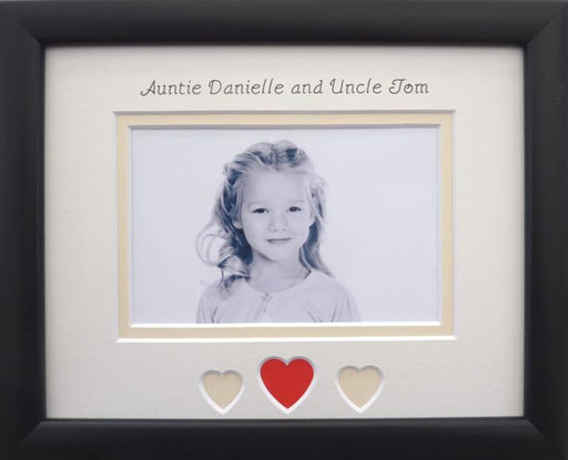 Auntie and Uncle Hearts Photo Frame Landscape 9 x 7 Black