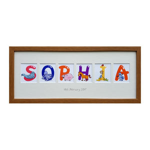 Personalised Animal Name Print & Frame - Oak