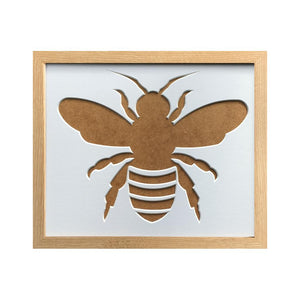 Bee Silhouette Picture Mount Frame 12 x 10 Beech