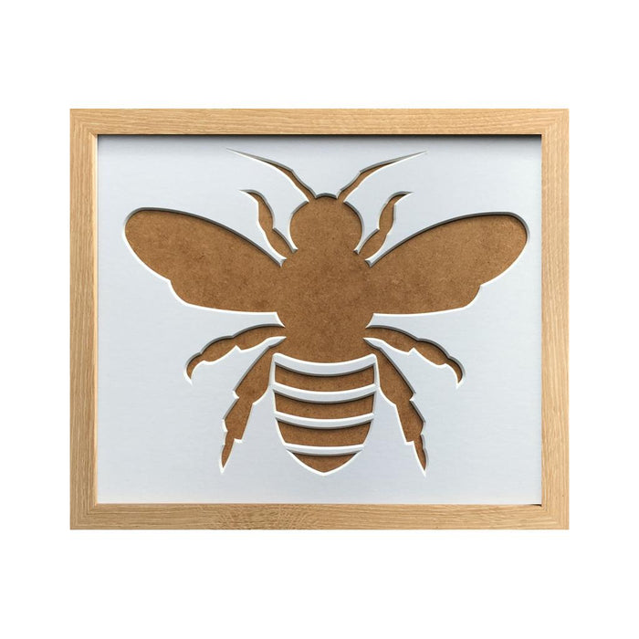 Bee Silhouette Picture Frame 12 x 10 Beech