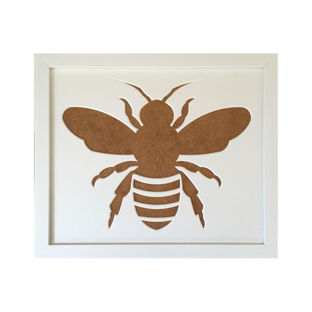 Bee Silhouette Picture Mount Frame  12 x 10 - White