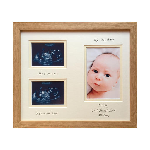 Unisex Double Baby Scan Photo Frame Beech - Portrait