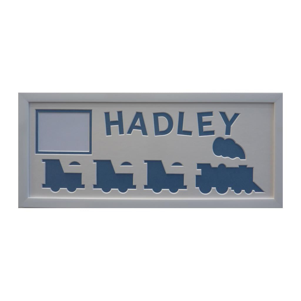 Steam Engine Personalised Photo Frame - Blue