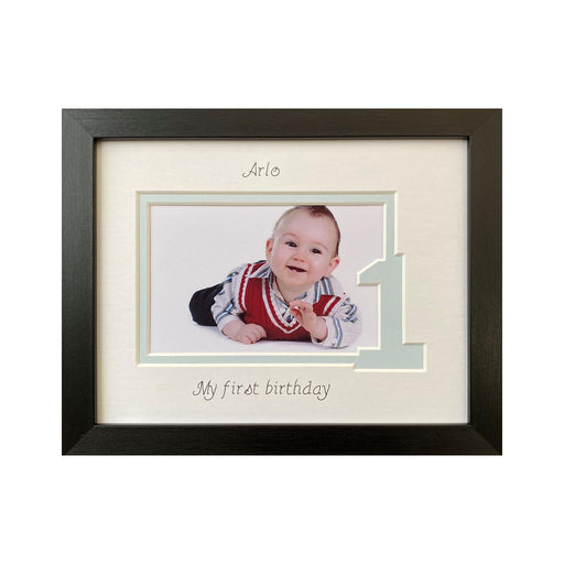 Boy 1st Birthday Photo Frame Black