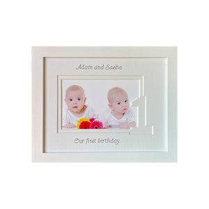 Brother and Sister Twin 1st Birthday Photo Frame 9 x 7 White